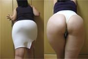No.003 爆乳爆尻妻 Tバック透け白スカート フェラ画(2枚) 爆尻突き出しスタイル