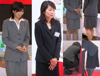 OLスーツ画像!イベント会場街撮り濃紺スーツとグレーのOLスーツ画像!