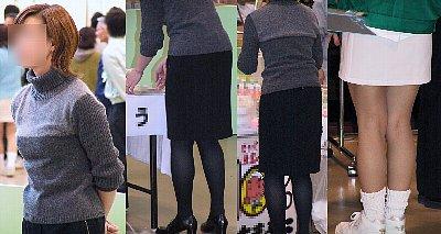 人妻黒パンストタイトスカート美脚とイベントコンパニオンミニスカ美脚画像