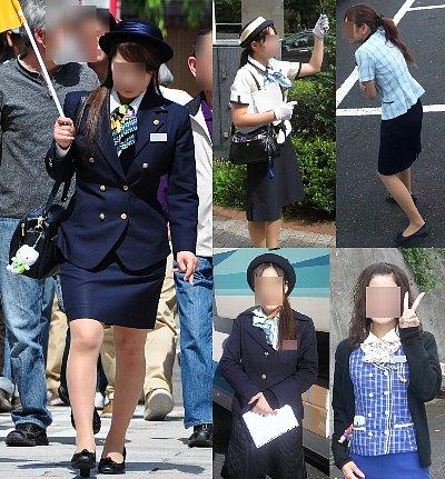 濃紺制服バスガイド画像街撮りナチュラルパンスト含む