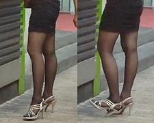 【フルHD】薄黒パンストにタイトミニの美脚お姉さん