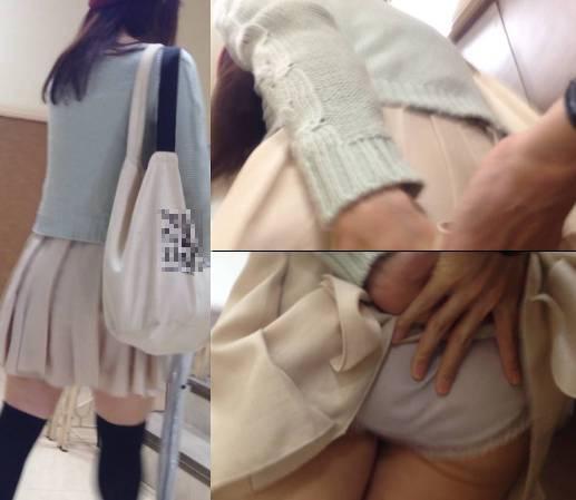 お尻の形がはっきりわかる薄手のパンツを触ったら女の子が驚いて必死の抵抗 進撃の痴漢 Part124