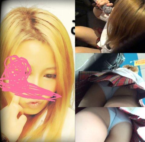 ロリギャル制服JKの食い込み気味清純パンツとブラチラ 【逆さ撮り③】