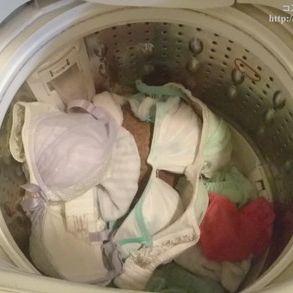 【盗撮】友人女性(Gカップ巨乳)の洗濯機の中(ブラジャー・染みパン)をチェック?