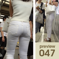 【047】形良し!透け良し!穿きこなし良し!まさにエロ尻三冠王!白スキニーパンツ女子