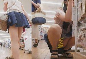 お買い物中のカワイイ娘のパンチラ
