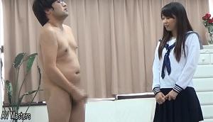男だけ全裸で、センズリ手コキ足コキ発射!その4/6センズリ発射編