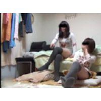 【覗き動画】女の子2人の部屋を覗いたら、オナニー始めちゃった・・・