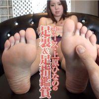 【足裏フェチ】ナース上原ひなののツルツルの足裏と敏感な足指を接写