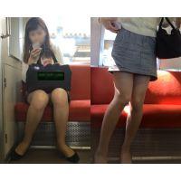 [無劣化FHD]電車からの風景〜薄いピンクパ○ツの美脚美人(フルHD)