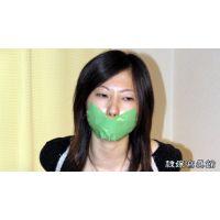 監禁24時間 - 相田ななこ 緊縛 テープギャグ - 椅子に縛りつけられたななこ - 緑テープギャグ