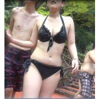 期間限定【AVCHD高画質 60p】水着 おっぱいの大きい女性の黒ビキニDX168