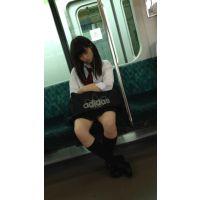 電車内の小柄で可愛いミニスカJK