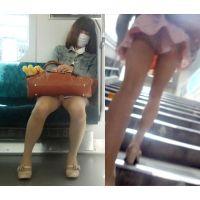 【電車対面撮影】ハーフ美女を対面撮影から追跡ミニスカ階段逆さ撮り