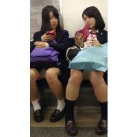 電車内の発展途中のエロいカラダの可愛いJK2人組(其の二)