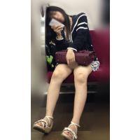 電車内の正面の席でエッチなナマ脚をがばっと何度も開脚してくれる可愛いメンヘラ女子大生(其の一)
