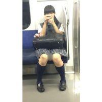 電車内のツインテールが可愛い優等生風の黒髪JK(其の一)