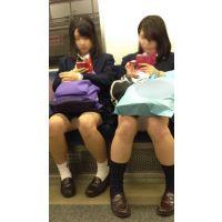 電車内の発展途中のエロいカラダの可愛いJK2人組(其の一)