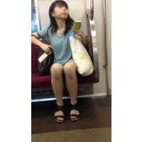 電車内の落ち着いた雰囲気の生脚おねえさん(後編)