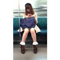 電車内のふわ系生脚女子大生