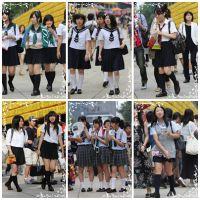制服女学生のいる街風景 File008