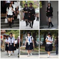 制服女学生のいる街風景 File007