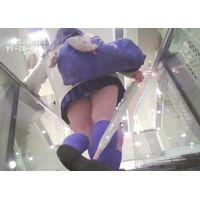 エスカレーター右手に傘を持つ女子校生【パンチラ動画】001と005セット販売