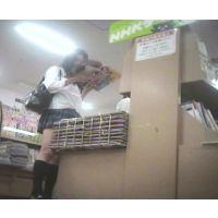 激ミニ女子校生立ち読み中を逆さ撮り【パンチラ動画】花色木綿 05〜07セット販売