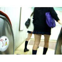 紺ハイ激ミニ女の子エスカレーター逆さ撮り【動画】002