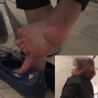 【HD動画】真冬の素足パンプス脱ぎの足の裏3