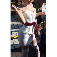 コスプレ2016冬上下白の衣装ガリガリの細い体タイスカ【動画】イベント編 2961