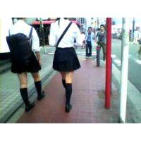 学校帰りの制服紺ハイ幼い学生2人組【ストーキング動画】街撮り編 302