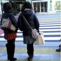 信号待ちをしている私服姿の女の子2人組【ストーキング動画】街撮り編 118と119セット販売