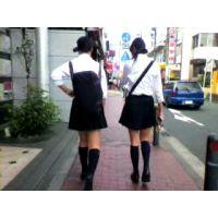 学校帰りの制服紺ハイ女の子2人組【ストーキング動画】街撮り編 304