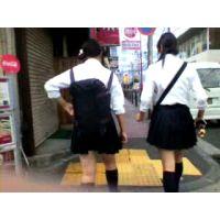 学校帰りの制服紺ハイ女子校生2人組【ストーキング動画】街撮り編 303