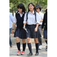 制服女子校生達の修学旅行風景 File033