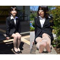 Sakiko#6/リクルートスーツ&ベージュストッキング