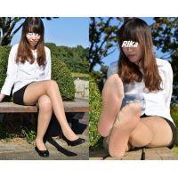 Rika#1/シャツ&スカート&ブラウンストッキング