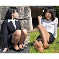 Sakiko#4/リクルートスーツ&コパーブラウンストッキング
