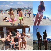 【夏のビーチ】黒ギャル水着の海水浴