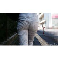 【FHD 60fps】女子大生のお尻51:スレンダー美人JDのハイウェストパンツ尻
