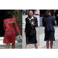 制服バスガイドとイベントコンパニオン制服スーツ画像街撮り