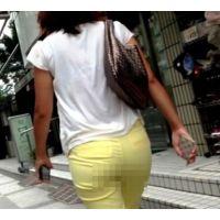 【HD画質】 ロン爺のピタパン女がゆく23 イエローから透けるむっちり尻編