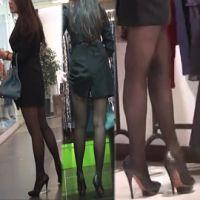 【動画】OLのスーツにピンヒール。超ミニスカ黒スト美脚を尾行