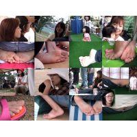 【裸足ママ達の運動会6】 Athletic meet classic  運動会での裸足若ママ7人