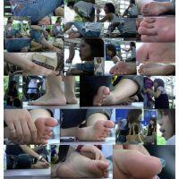 【若ママの足6】 足紋見え過ぎの虫目線(バグズ・アイ)で裸足若ママ3人