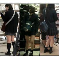 【新カメHD動画】制服娘の白いパンツ逆さ撮りNo25