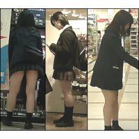【新カメHD動画】制服娘の白いパンツ逆さ撮りNo26