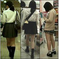 【新カメHD動画】制服娘の白いパンツ逆さ撮りNo23