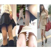 Full HD)生足美脚JK+色気ムンムンお姉さんを前と後ろから狙ったパンチラ動画